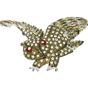 Art Deco Figural Owl Enamel Rhinestone Brooch
