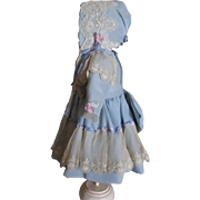 Adorable Silk and Lace Dress and Bonnet for French or German Doll