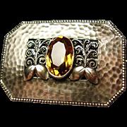 SALE Theodor Fahrner Hermann Haussler Jugendstil Secessionist 935 Silver Citrine Brooch Pin