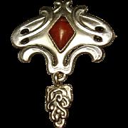 SALE Skonvirke Danish Arts & Crafts Art Nouveau 826 Silver Amber Brooch Pin