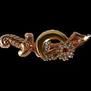Coro Sterling Sword Brooch Shriners Scimitar Figural 1940s A Katz
