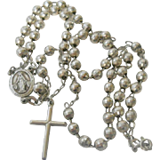 SOLD Vintage Sterling Faceted Bead Rosary Necklace Miraculous Medal Cross
