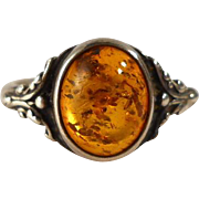 SALE Vintage Sterling Silver Amber Cabochon Ring Size 7