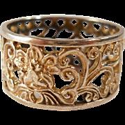 SALE Sterling Scrolls Floral Open Work Ring Vintage Size 9