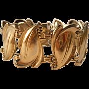 REDUCED Vintage Sterling Leaves Bracelet Gold Filled Art Nouveau Revival