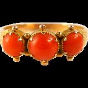 SALE Antique 15ct Gold Coral Trilogy Ring 1887 Birmingham Size 8.5