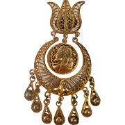 SALE Egyptian Revival Lotus Pharoah Brooch Pendant Boho Gypsy 900 Gilt Silver