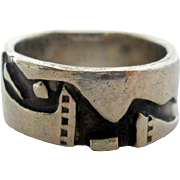 Vintage Sterling Modernist Abstract Dinosaur Ring Size 6