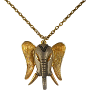 SOLD Vintage Razza Elephant Pendant Necklace Figural