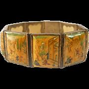 SALE Vintage Persian Story Bracelet Hand Painted Bone 1940s