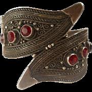 SALE Vintage Jerusalem 935 Silver Bracelet Middle Eastern Clamper