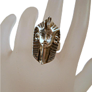 Vintage Sterling Egyptian King Tut Ring Egyptian Revival