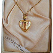 SALE Vintage Gold Filled Heart Locket Necklace Original Box