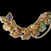 SALE Vintage Pik NY Slide Charm Bracelet Art Glass Chevron Links