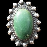SALE Vintage Green Turquoise Sterling Stamped Ring Adjustable Native American