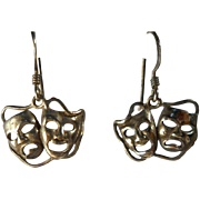 Vintage Sterling Comedy Tragedy Masks Earrings Dangle Theater