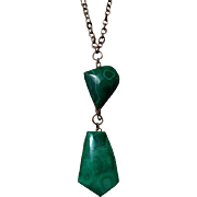 SALE Arts Crafts Malachite Copper Pendant Necklace Antique Statement Jewelry
