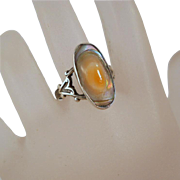 Vintage Sterling Blister Pearl Heart Ring Size 6
