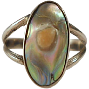 SALE Vintage Sterling Blister Pearl Abalone Ring Silver