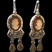 SALE Vintage Gilt Sterling Cameo Dangle Earrings Cannetille Filigree