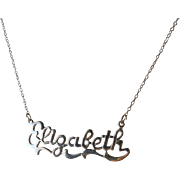Vintage Elizabeth Sterling Name Pendant Necklace