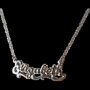 SALE Vintage Elizabeth Sterling Name Nameplate Necklace Pendant