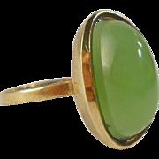 SALE Jade 8K Gold Modernist Ring German Mid Century Size 8