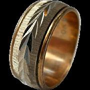 SALE Vintage Sterling Gold Filled Wedding Band Laurel Leaves Size 7