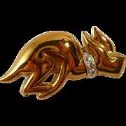 Art Deco Racing Dog Brooch Pin Vintage Figural