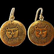 Vintage Laurel Burch Marsh Lion Earrings