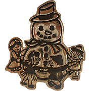 REDUCED Vintage Mexico Sterling Frosty Snowman Brooch Pin
