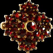 SALE Antique Bohemian Garnet Cross Sterling Ring Gilt Size 5