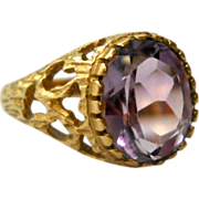 Amethyst 9K Gold Ring Modernist Size 7 Vintage London