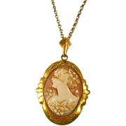Victorian Shell Cameo Gold Filled Pendant Chain Antique PS Co