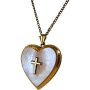 Vintage Heart Locket Cross Mother Pearl Pendant with Chain
