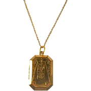 SALE Gold Filled Rectangular Locket Pendant Deco Louis Stern