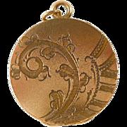 SALE Vintage 9K Gold Floral Locket Pendant Etched Monogrammed
