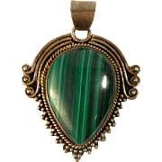 SALE Vintage Sterling Silver Malachite Granulated Pendant