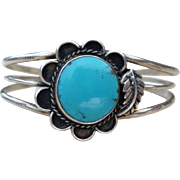 Vintage Turquoise Flower Sterling Cuff Bracelet Native American