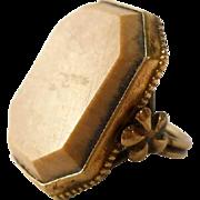SALE Art Nouveau Gilt Sterling Agate Ring Size 5 Boho Gypsy Silver