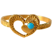 Gold Filled Faux Turquoise Heart Ring Size 5