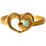 Gold Filled Faux Opal Heart Ring Vintage Size 4.5