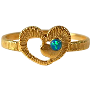 Gold Filled Faux Opal Heart Ring Size 6 Vintage