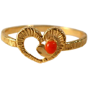 Gold Filled Faux Coral Heart Ring Vintage Size 6.5