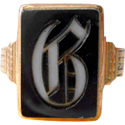 Victorian Gold Signet Agate Ring Letter B Antique