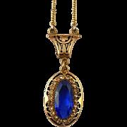 Deco Pendant Choker Necklace Blue Glass Enamel Rhinestones