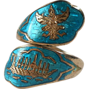 Vintage Teal Blue Siam Sterling Ring Bypass Size 8 Dragon Ship Ramayama
