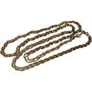 SALE Vintage Sterling Triple Braided Chain Necklace Gilt 34 inches
