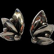 SALE Danish Sterling Mistletoe Earrings NE From Vintage Clips 1960s