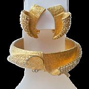 SALE Vintage Gold Tone Rhinestone Bracelet Earrings Set 1950s Glamour